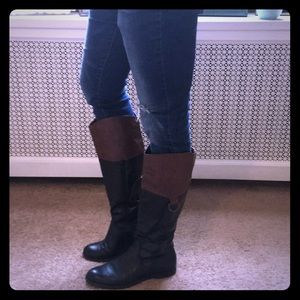 Shoes - Bicolor leatherette women's tall riding boots